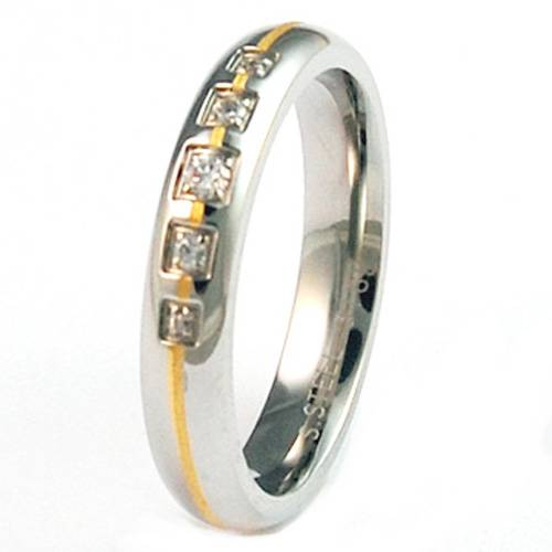 Lady stainless steel two tone ring designs with 5pcs big CZ stones