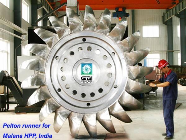 Hydro turbine pelton generator runner