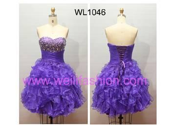 Short Beading Pleated Princess Organza Prom Dresses WL1046