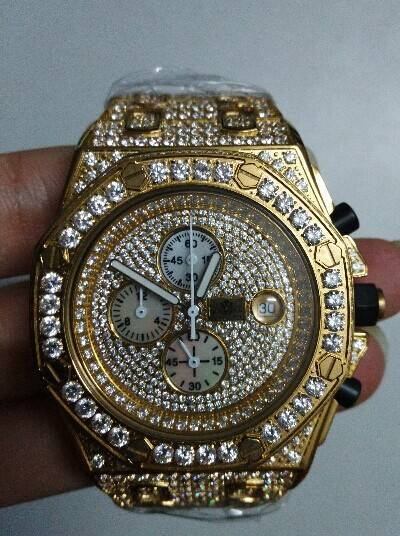 Mens Custom AP Style Yellow Gold Diamond Watch