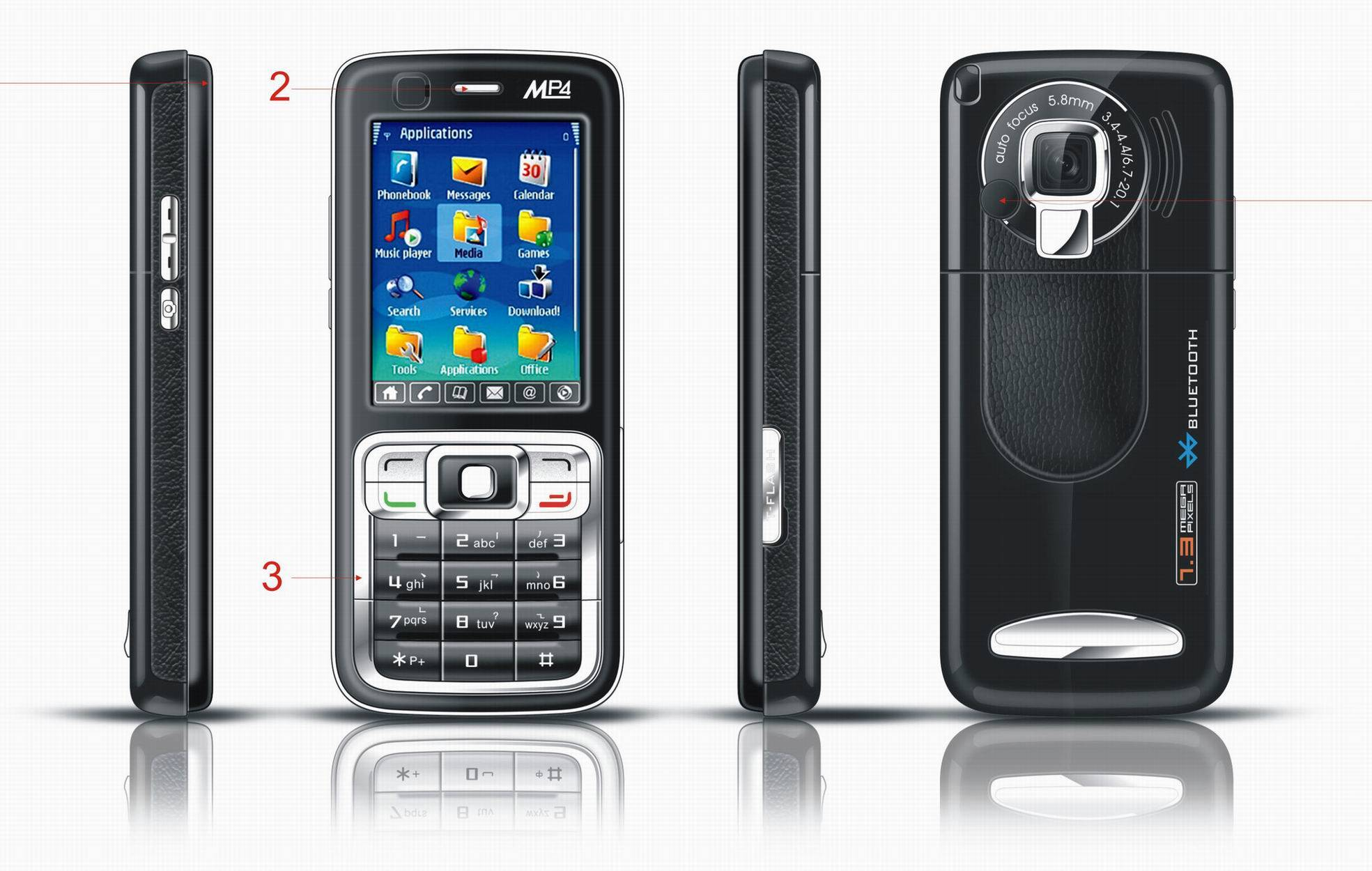 Mobile Phone, Cell Phone W/ mp3, mp4, camera and build in 128M FLASH MEMORY