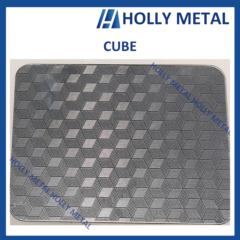 Stainless Steel Pattern Embossed Etched Decoration Sheet (Cube)