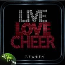 Live love cheer letter rhinestone hotfix motif