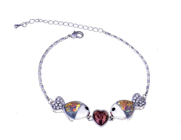 2013 Autumn New Style Fish Pendant Bracelet With Austrian Crystal