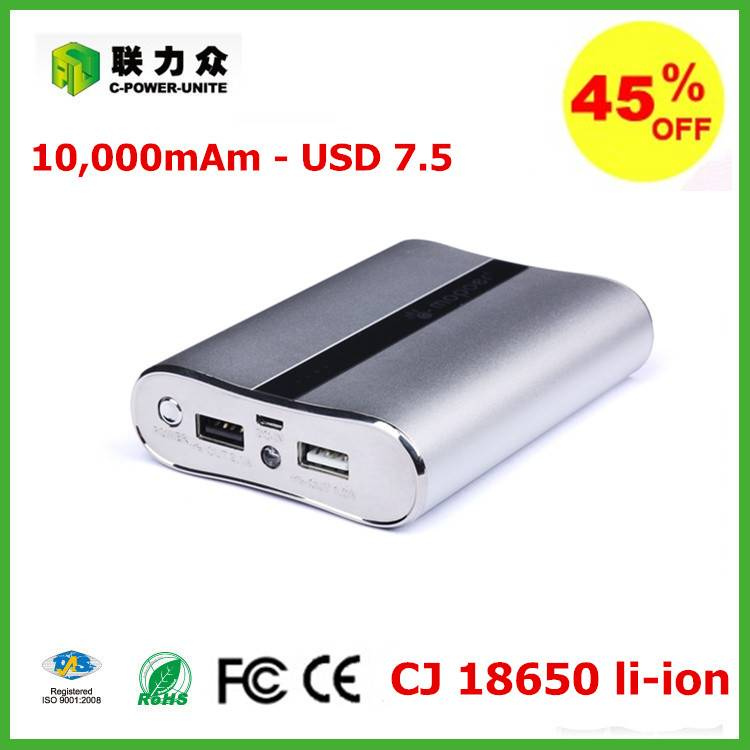 stock promotion 10000mah aluminum patent power bank at 7.5usd