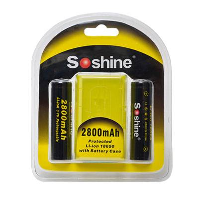 Soshine 18650 Li-ion 2800mAh 3.7V Protected Battery