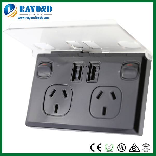 Sell Double GPO Wall Socket with 5V/3A Double Port USB Charger and Mobile Phone Holder