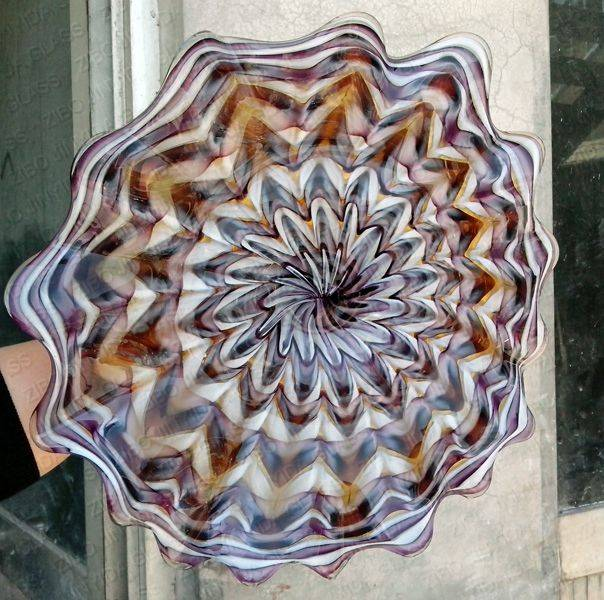 Mouth blown glass wall plate decoration