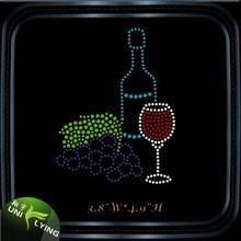 Wine glass rhinestone transfer wholesale in china