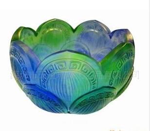 crystal colored glaze lotus seat----- liu li art glass craft