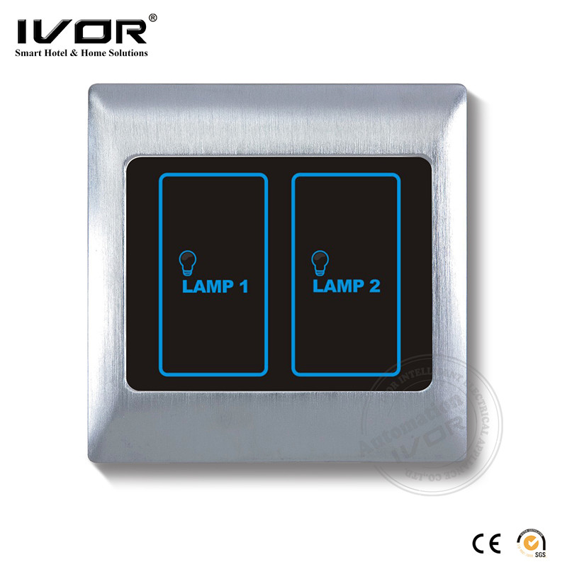 IVOR metal cover plate 2 gang lighting control touch light switch