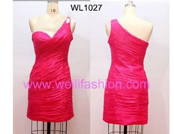 Short Pleated Applique Chiffon Cocktail Dresses WL1027