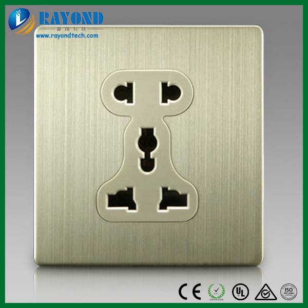 Universal 2-Pin and 3-Pin Electrical Power Socket with Brushed Stainless Steel Wall Plate
