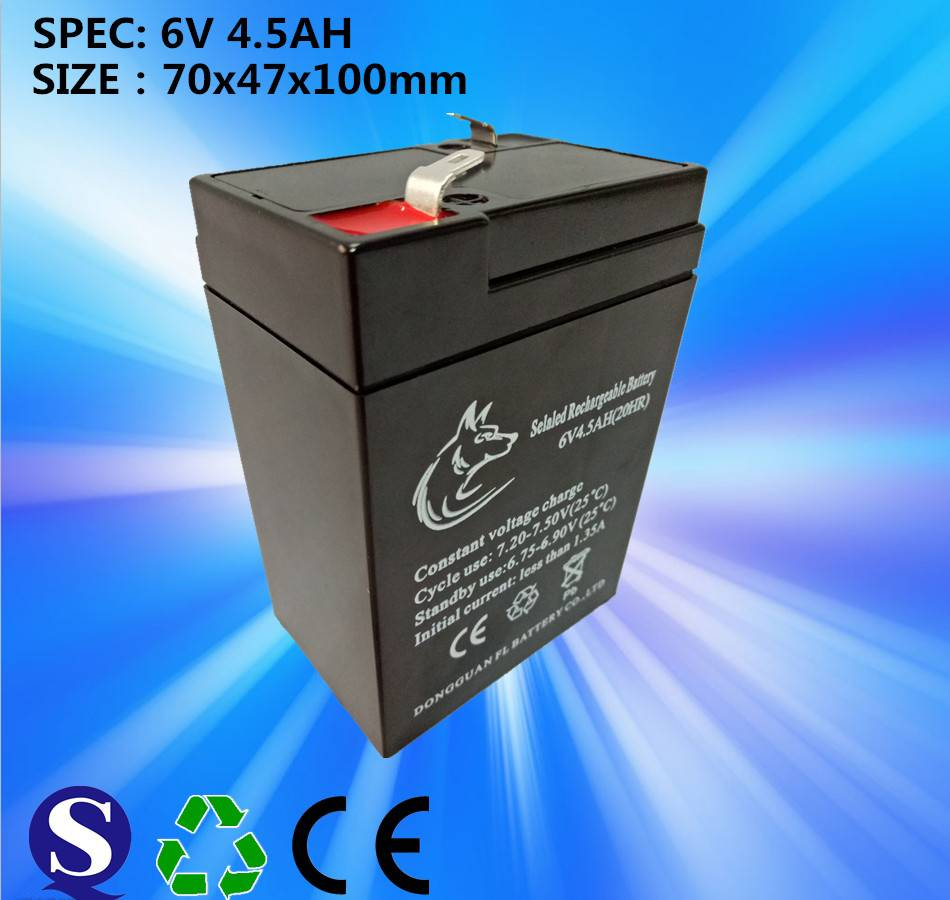 Maintenance free 6v 4.5ah lead acid battery