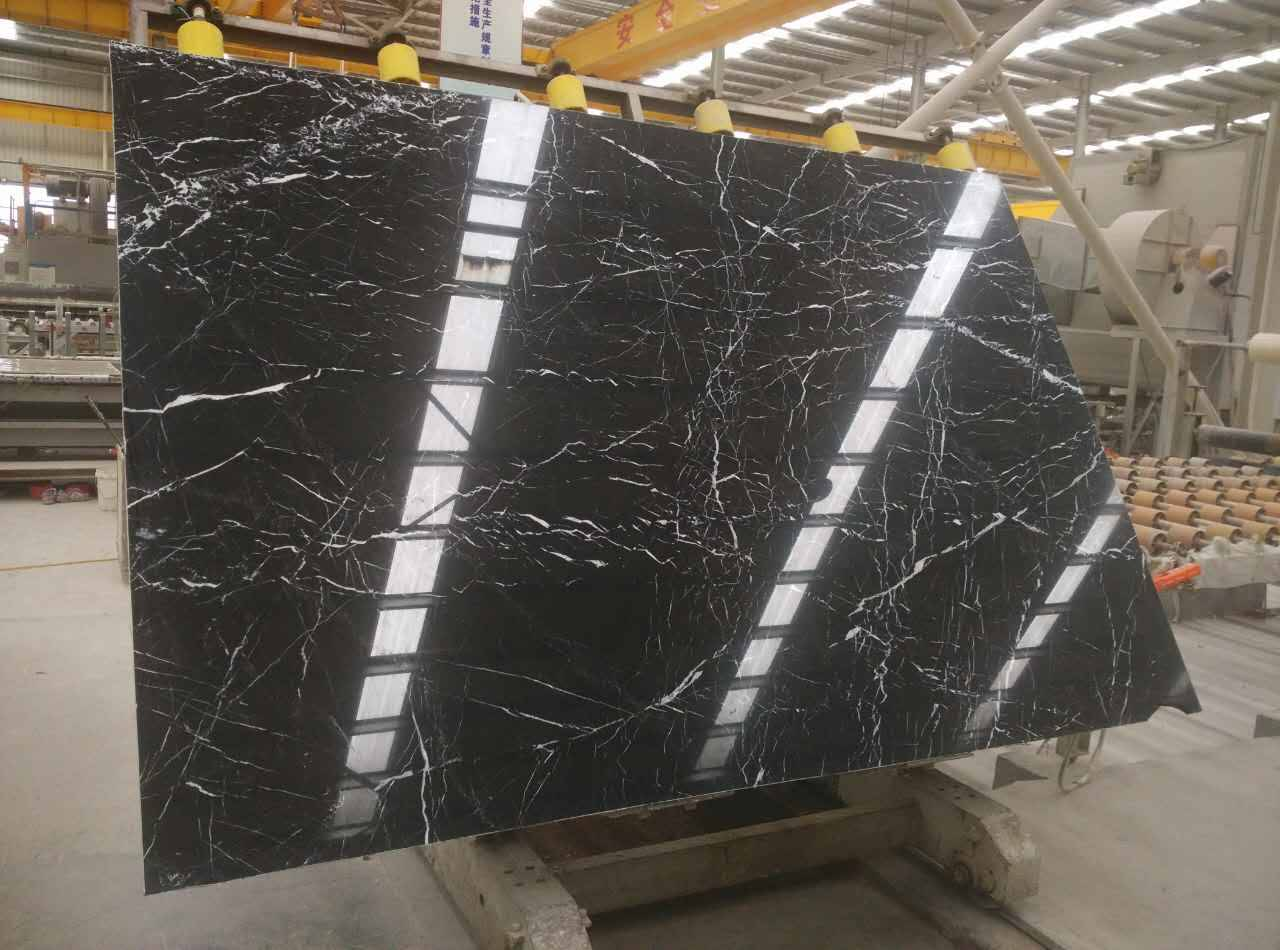 Black Levnto natural stone product marble slab