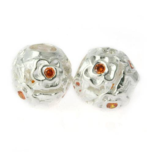 silver charms beads with stone NO. JZ0005B26
