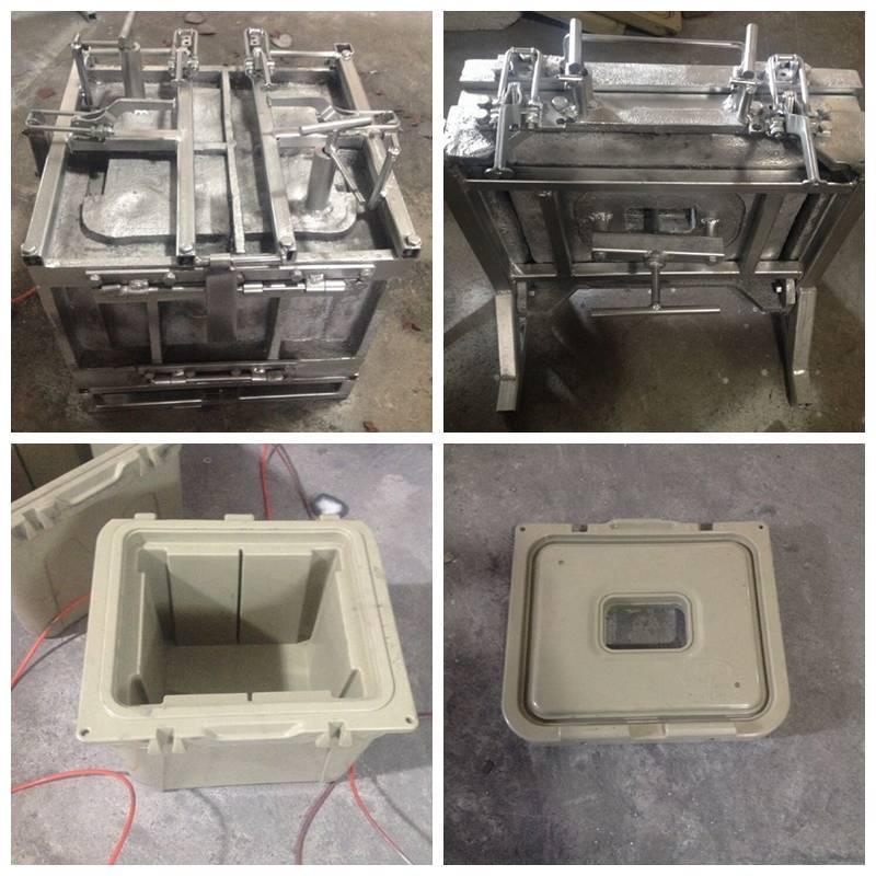 PE+PU ice box moulds, roto molding mold and PU foam mold, aluminum