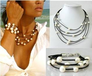 Freshwater pearl bracelets made with four strands genuine leather