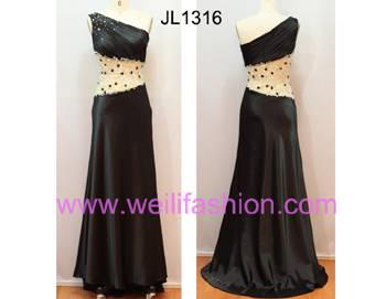 Long Sexy Beading Pleated Satin Evening Dresses JL1316