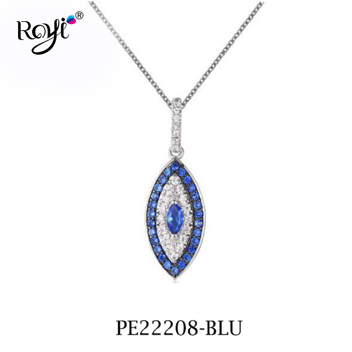 New arrival Sterling silver blue sapphire eye shape pendant