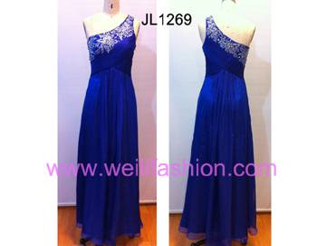 Long Applique Pleated Beading Chiffon Evening Dresses JL1269