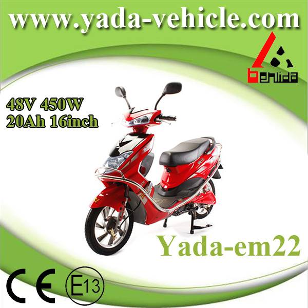 48v 450w 20ah 16inch drum brake sport style electric scooter motorcycle (yada em22)