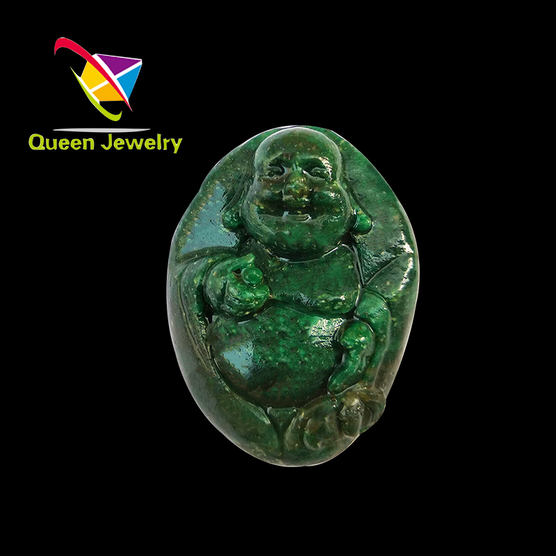jade buddha pendant Carved Gemstone Jewelry Jade Carving Laughing Buddha gemstone jewelry