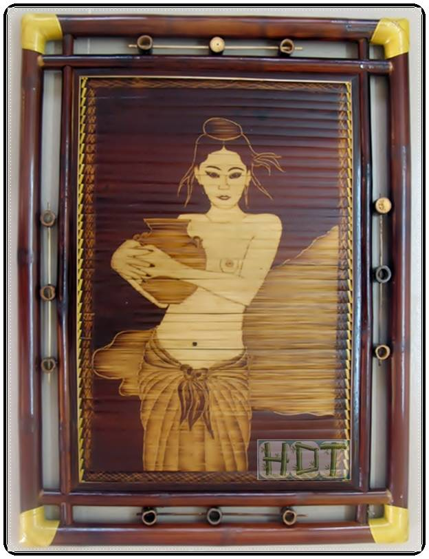 Shaving Smoked Bamboo Painting Portraits (Girl with Vase Artwork)_ This Is Not Painted