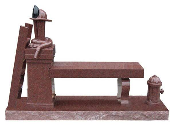 Western style india red granite stone monuments with bench