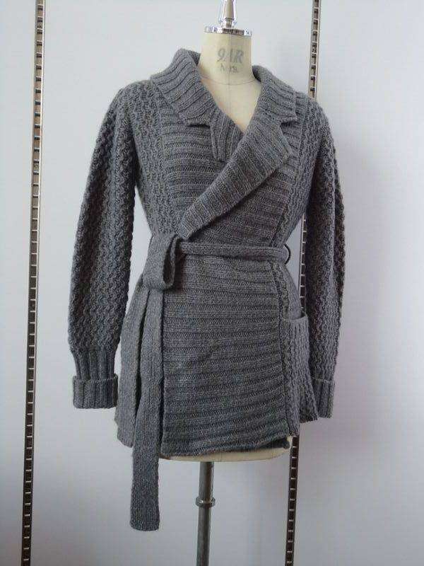 thick cable cashmere cardigan