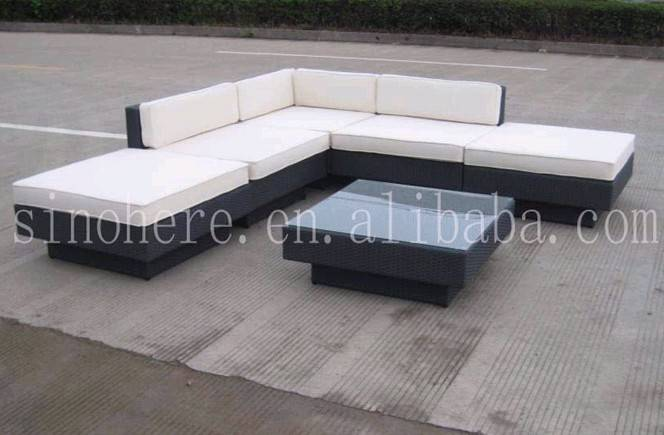 Aluminium wicker 7 pcs rattan sofa set