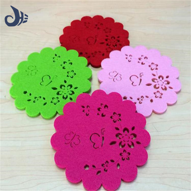 different color beautiful design polyester felt coffee cup mat