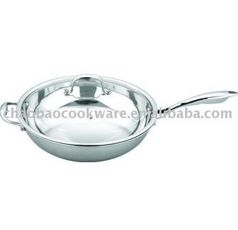 Stainless steel frypan with lid