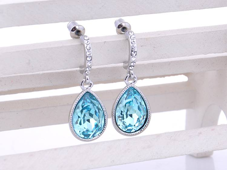 Water Drop Earrings With Blue Austrian Crystal Hot selling