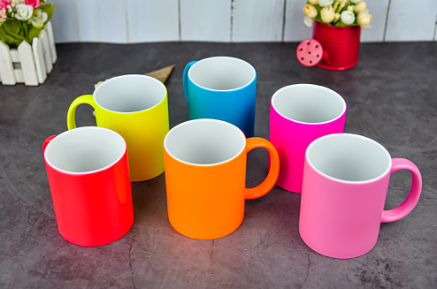hot-selling spray colored ceramic cups promotional mugs stoneware gift mugs