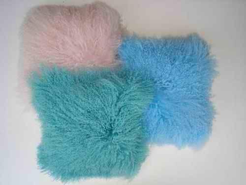 tibet lamb fur cushion, mongolian lamb fur cushion