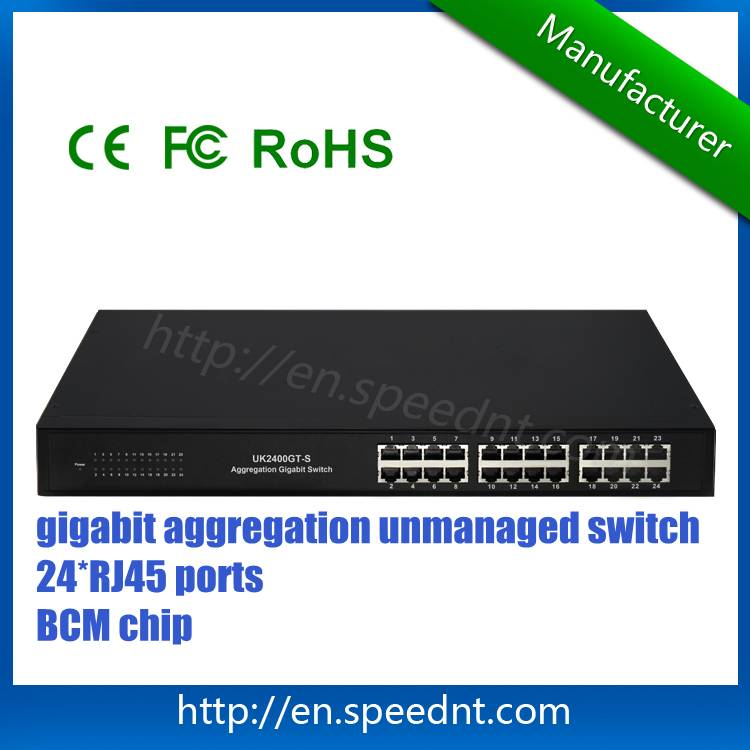 In stock Aggregation Gigabit Switch UK2400GT-S 24 RJ45 ports with BCM chip
