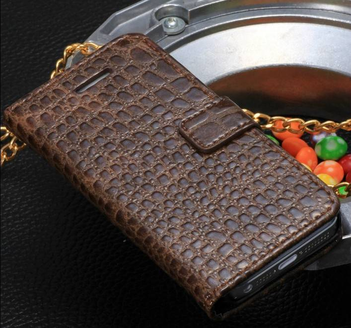 Alligator Grain Leather Case for iPhone 5, Accessories for iPhone with Magnetic Flip