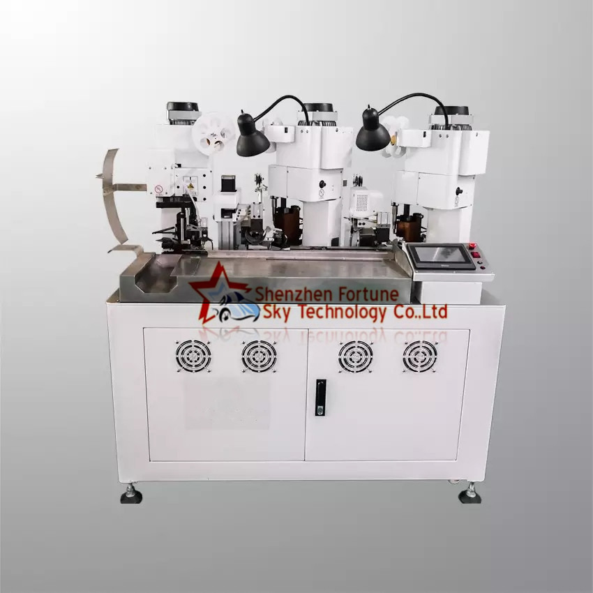 Fully Automatic Double Wires Three Terminals Crimping Machine