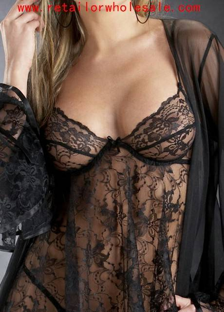 Wholesale Seductive Oversize Semi Sheer Black Lace Babydolls For Lady