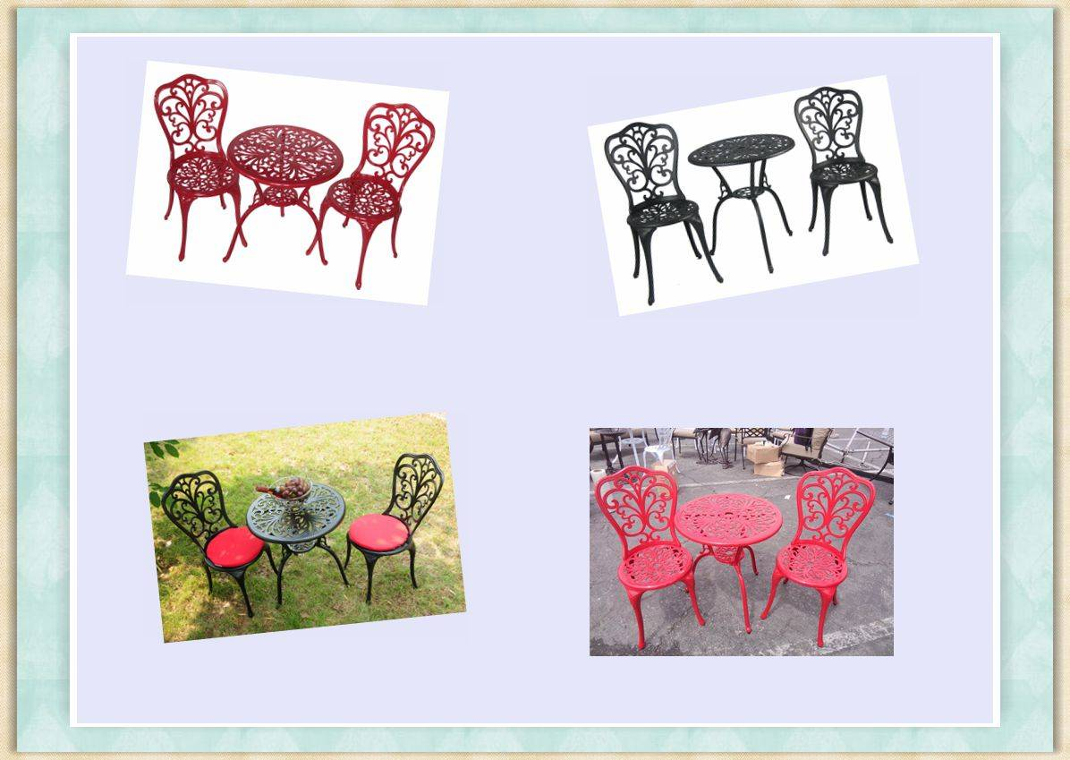 outdoor round cast aluminum bistro furniture set