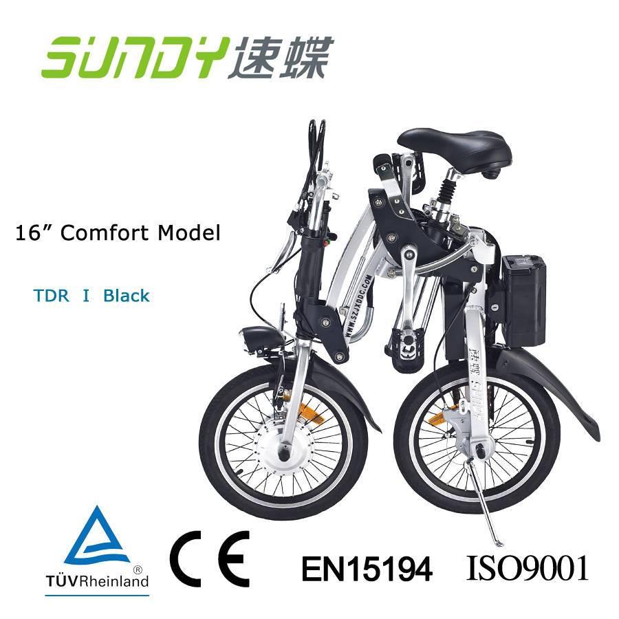 16-inch Mini Folding Electric Bicycle-Black