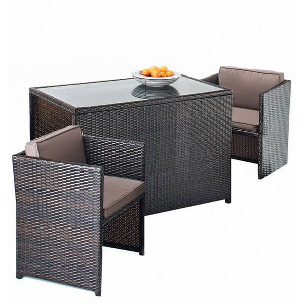 Rattan Garden Furniture 2 Seater Cube Set