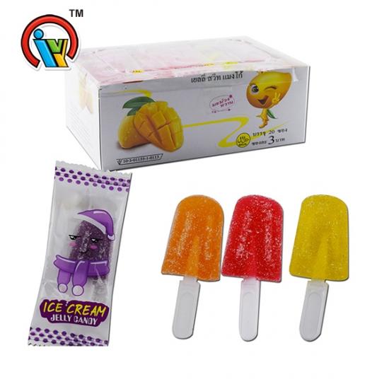Ice Cream Shape Fruity Soft Jelly Gummy Lollipop Candy
