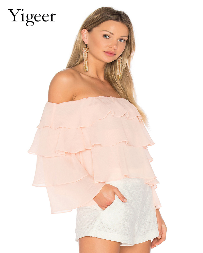 Three Layers Offer Shoulder Fashionable Women's Top Blouse