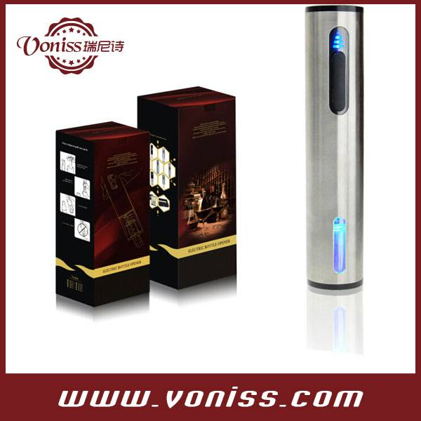 Intelligent Electric Wine Opener In Stainless Steel Body With Power Indicator And Foil Cutter