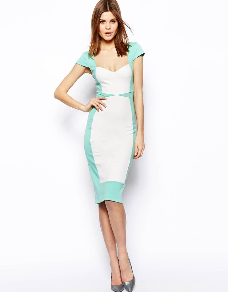 Elegant Women Color Block Pencil Casual Summer Dress (JK047)