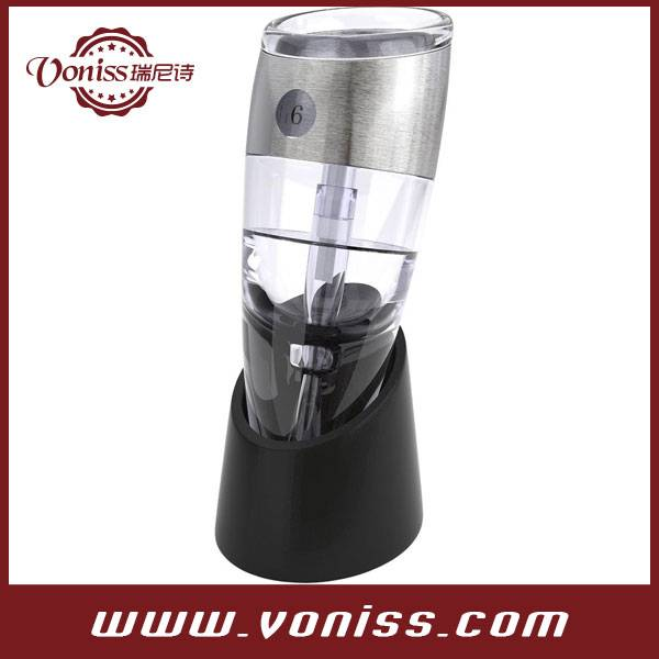 Adjustable Wine Aerator with Variable Speed Dial for Decanting the perfect glass of Wine. with Stand