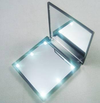 Hot sales plastic pocket makeup pocket mirror with 6 led lights