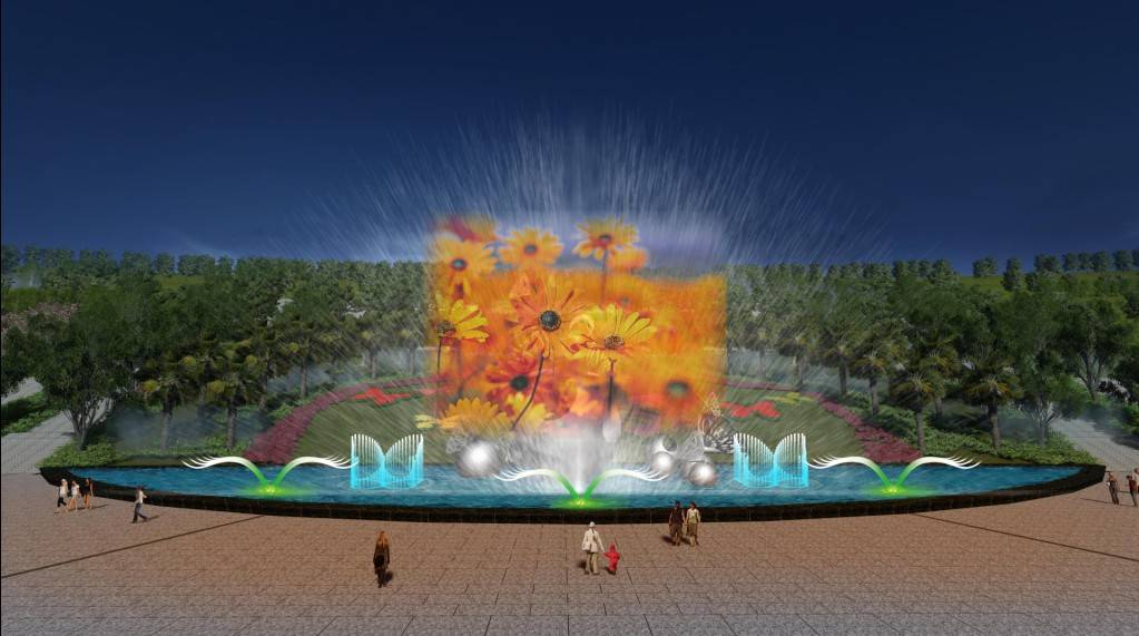 Large Laser Water Screen& Musical Fountain